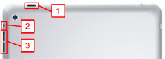 iPad2電源、スリープ、音量、消音操作