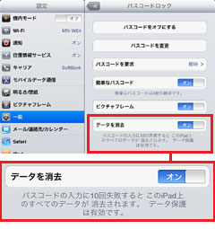 iPad2でパスコードを入力失敗でデータ消去